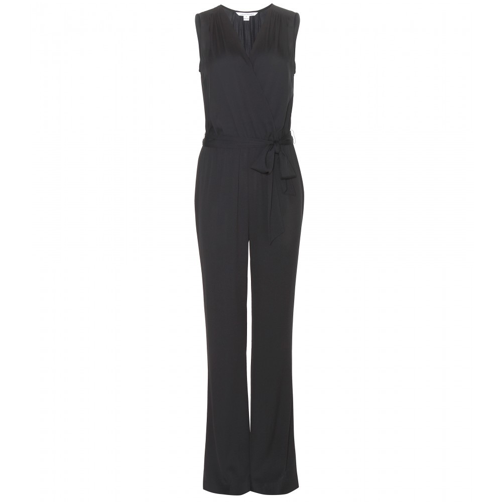Eva Silk Jumpsuit - length: standard; neckline: v-neck; fit: tailored/fitted; pattern: plain; sleeve style: sleeveless; predominant colour: black; fibres: silk - 100%; occasions: occasion; sleeve length: sleeveless; texture group: silky - light; style: jumpsuit; pattern type: fabric; season: s/s 2015