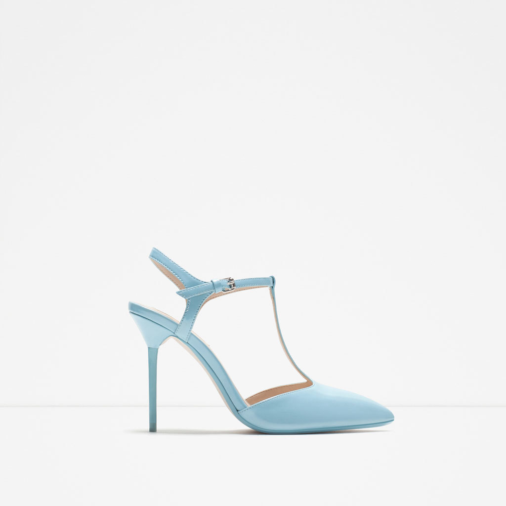 High Heel Mules With Ankle Strap - predominant colour: pale blue; occasions: evening, occasion; material: faux leather; heel height: high; ankle detail: ankle strap; heel: stiletto; toe: pointed toe; style: t-bar; finish: plain; pattern: plain; season: s/s 2015