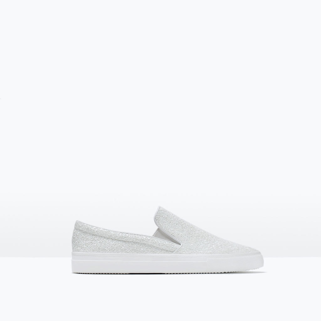 Shiny Pointed Plimsolls - secondary colour: white; predominant colour: light grey; occasions: casual; material: fabric; heel height: flat; embellishment: glitter; toe: pointed toe; finish: metallic; pattern: plain; shoe detail: moulded soul; style: skate shoes; season: s/s 2015