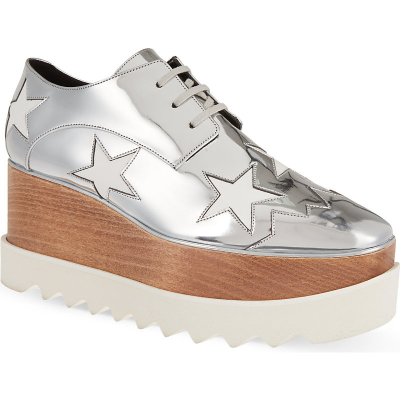 Elyse Indium Flatform Derby Shoes, Women's, Eur 35 / 2 Uk Women, Silver - predominant colour: silver; occasions: casual, evening; material: leather; heel height: flat; toe: round toe; style: brogues; finish: metallic; pattern: plain; shoe detail: platform with tread; trends: seventies retro; season: s/s 2015