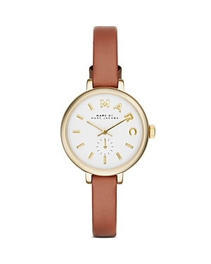 Marc Sally Watch, 28mm - predominant colour: tan; secondary colour: gold; occasions: casual, creative work; style: leather strap; size: large/oversized; material: leather; finish: plain; pattern: plain; season: s/s 2015