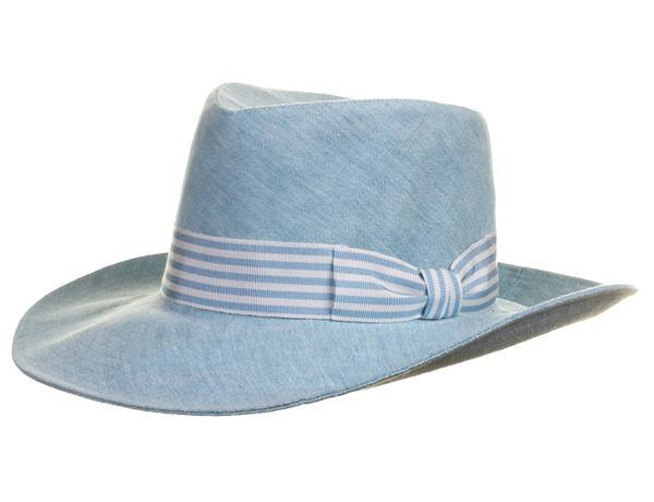 Giverny Aqua - predominant colour: pale blue; occasions: casual, holiday; type of pattern: standard; embellishment: ribbon; style: fedora; size: standard; material: fabric; pattern: plain; season: s/s 2015; wardrobe: holiday