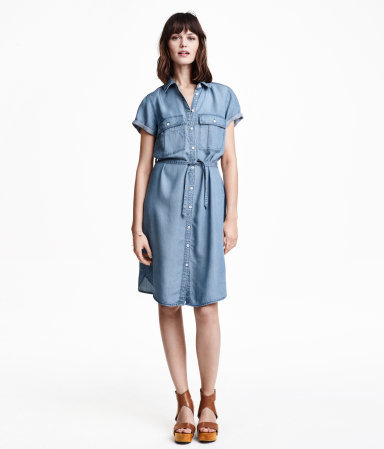 Shirt Dress In Lyocell - style: shirt; neckline: shirt collar/peter pan/zip with opening; fit: fitted at waist; pattern: plain; bust detail: pocket detail at bust; waist detail: belted waist/tie at waist/drawstring; predominant colour: denim; occasions: casual; length: on the knee; sleeve length: short sleeve; sleeve style: standard; texture group: denim; pattern type: fabric; season: s/s 2015; wardrobe: basic