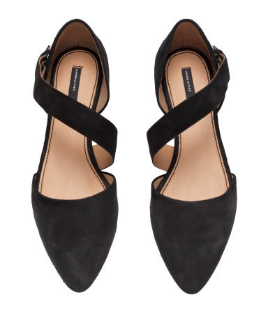 Suede Sandals - predominant colour: black; occasions: casual, creative work; material: suede; heel height: flat; ankle detail: ankle strap; toe: pointed toe; style: ballerinas / pumps; finish: plain; pattern: plain; season: s/s 2015; wardrobe: basic
