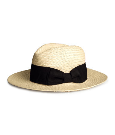 Straw Hat - predominant colour: ivory/cream; secondary colour: black; occasions: casual, holiday; type of pattern: standard; embellishment: ribbon; style: panama; size: standard; material: macrame/raffia/straw; pattern: colourblock; season: s/s 2015; wardrobe: holiday