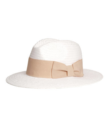 Straw Hat - predominant colour: white; secondary colour: stone; type of pattern: light; embellishment: ribbon; style: panama; size: standard; material: macrame/raffia/straw; occasions: holiday; pattern: colourblock; season: s/s 2015; wardrobe: holiday