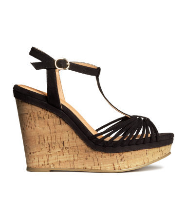 Sandals With A Wedge Heel - predominant colour: black; occasions: casual; material: suede; heel height: high; ankle detail: ankle strap; heel: wedge; toe: open toe/peeptoe; style: strappy; finish: plain; pattern: plain; shoe detail: platform; season: s/s 2015; wardrobe: investment