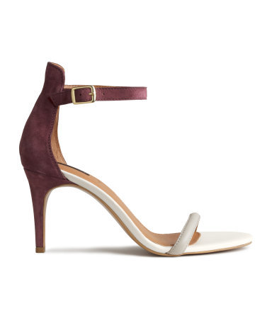 Sandals In Leather And Suede - predominant colour: white; secondary colour: tan; occasions: evening, occasion; material: suede; heel height: high; ankle detail: ankle strap; heel: stiletto; toe: open toe/peeptoe; style: strappy; finish: plain; pattern: colourblock; season: s/s 2015