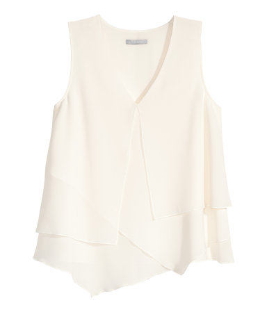 Asymmetric Top - neckline: low v-neck; pattern: plain; sleeve style: sleeveless; predominant colour: ivory/cream; occasions: casual, creative work; length: standard; style: top; fibres: polyester/polyamide - 100%; fit: loose; sleeve length: sleeveless; pattern type: fabric; texture group: other - light to midweight; season: s/s 2015; wardrobe: basic