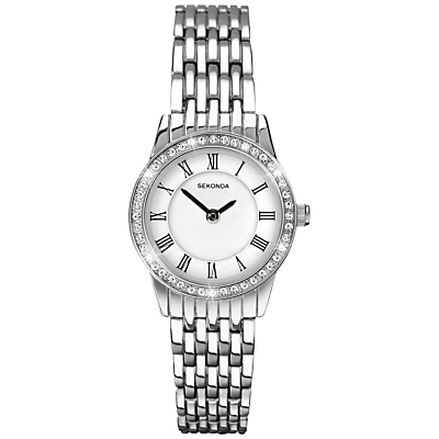 2151.27 Women's Crystal Bracelet Strap Watch, Silver/White - secondary colour: white; predominant colour: silver; occasions: casual, work, creative work; style: metal bracelet; size: small/fine; material: chain/metal; embellishment: crystals/glass; finish: metallic; pattern: plain; season: s/s 2015