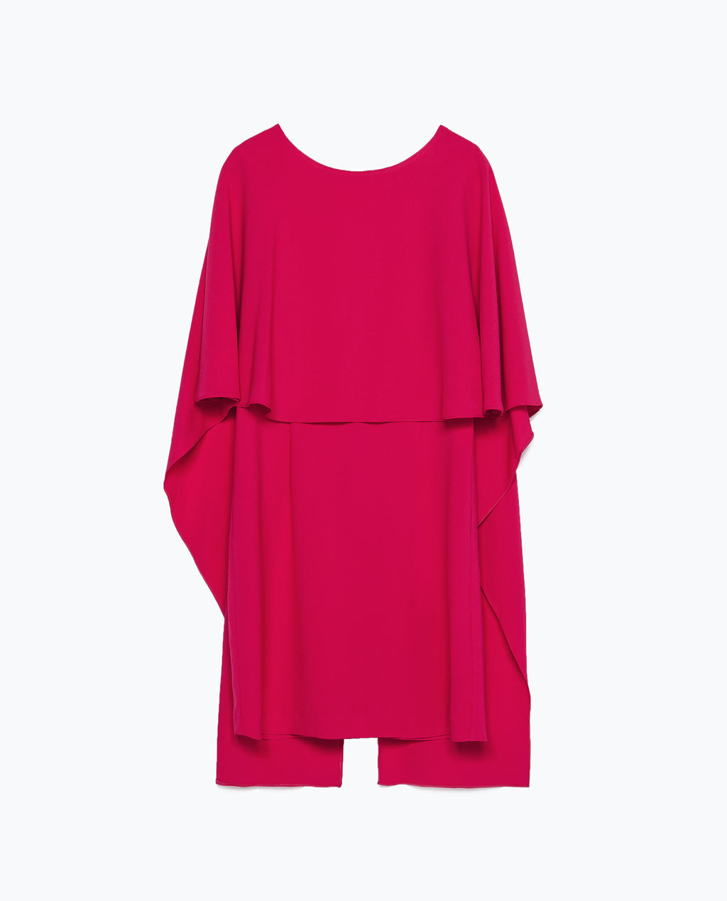 Cape Dress With Low Back - style: tunic; length: mini; neckline: round neck; sleeve style: angel/waterfall; fit: loose; pattern: plain; back detail: back revealing; predominant colour: hot pink; occasions: evening; fibres: polyester/polyamide - stretch; sleeve length: half sleeve; texture group: crepes; pattern type: fabric; season: s/s 2015; wardrobe: event