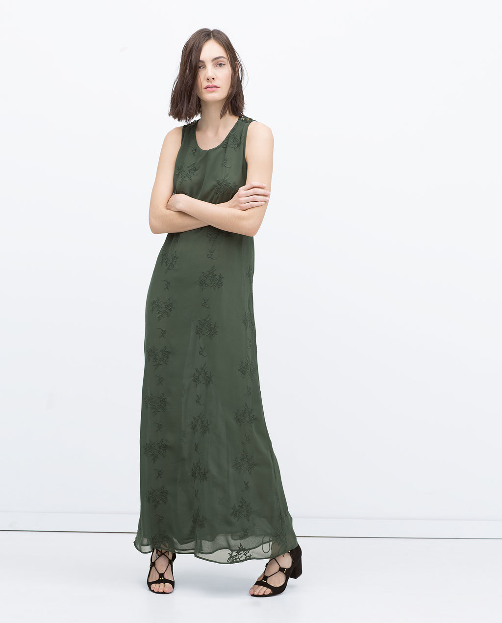 Long Dress - pattern: plain; sleeve style: sleeveless; style: maxi dress; length: ankle length; predominant colour: khaki; occasions: casual, evening; fit: body skimming; neckline: scoop; fibres: polyester/polyamide - 100%; sleeve length: sleeveless; texture group: sheer fabrics/chiffon/organza etc.; pattern type: fabric; embellishment: embroidered; season: s/s 2015; wardrobe: highlight
