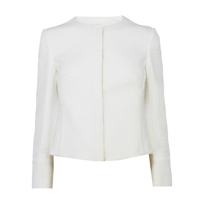 Cotton Pique Tailored Jacket, Ivory - pattern: plain; collar: round collar/collarless; style: boxy; predominant colour: ivory/cream; occasions: evening, occasion; length: standard; fit: straight cut (boxy); fibres: cotton - 100%; sleeve length: long sleeve; sleeve style: standard; collar break: high; pattern type: fabric; texture group: woven light midweight; season: s/s 2015; wardrobe: event