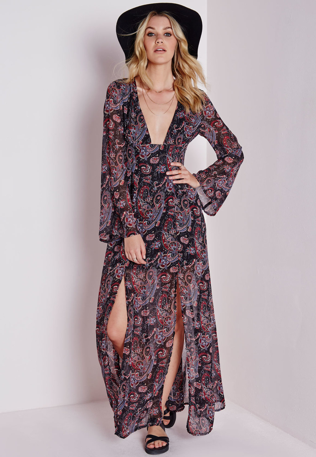 Tie Back Floaty Maxi Dress Black Paisley, Black - neckline: plunge; sleeve style: angel/waterfall; style: maxi dress; length: ankle length; pattern: paisley; hip detail: draws attention to hips; predominant colour: black; occasions: casual, holiday; fit: body skimming; fibres: polyester/polyamide - stretch; sleeve length: long sleeve; texture group: sheer fabrics/chiffon/organza etc.; pattern type: fabric; pattern size: big & busy; season: s/s 2015; wardrobe: highlight
