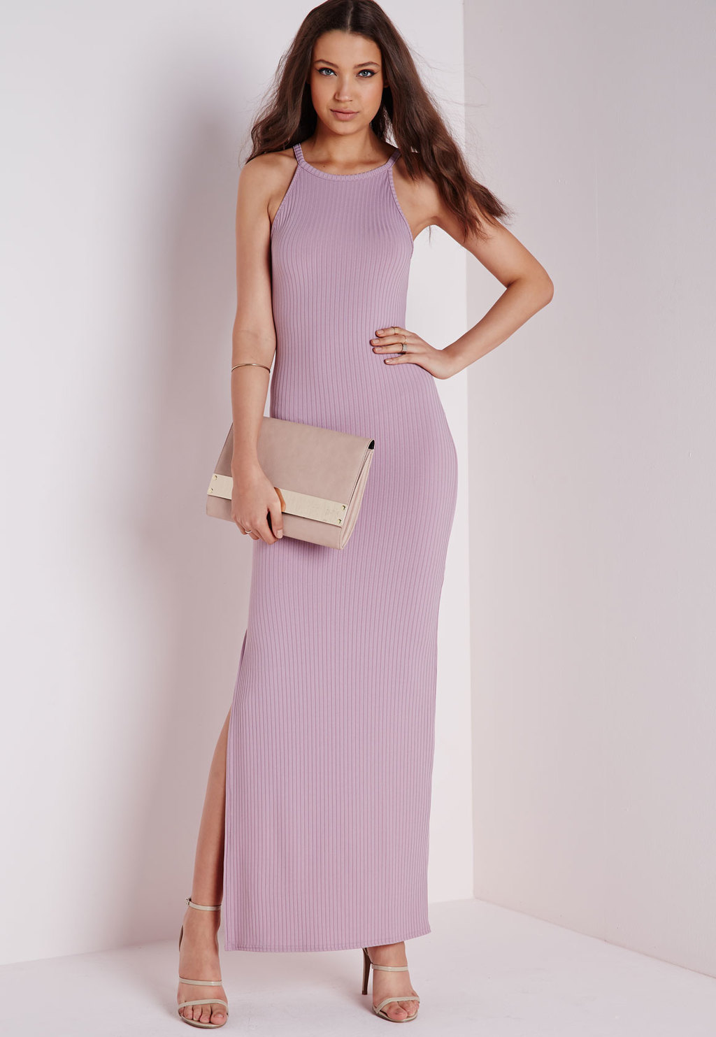 Ribbed Side Split Maxi Dress Mauve, Mauve - neckline: round neck; sleeve style: spaghetti straps; fit: tight; pattern: plain; style: maxi dress; length: ankle length; predominant colour: lilac; occasions: casual, occasion; fibres: polyester/polyamide - stretch; sleeve length: sleeveless; pattern type: fabric; texture group: jersey - stretchy/drapey; season: s/s 2015; wardrobe: highlight
