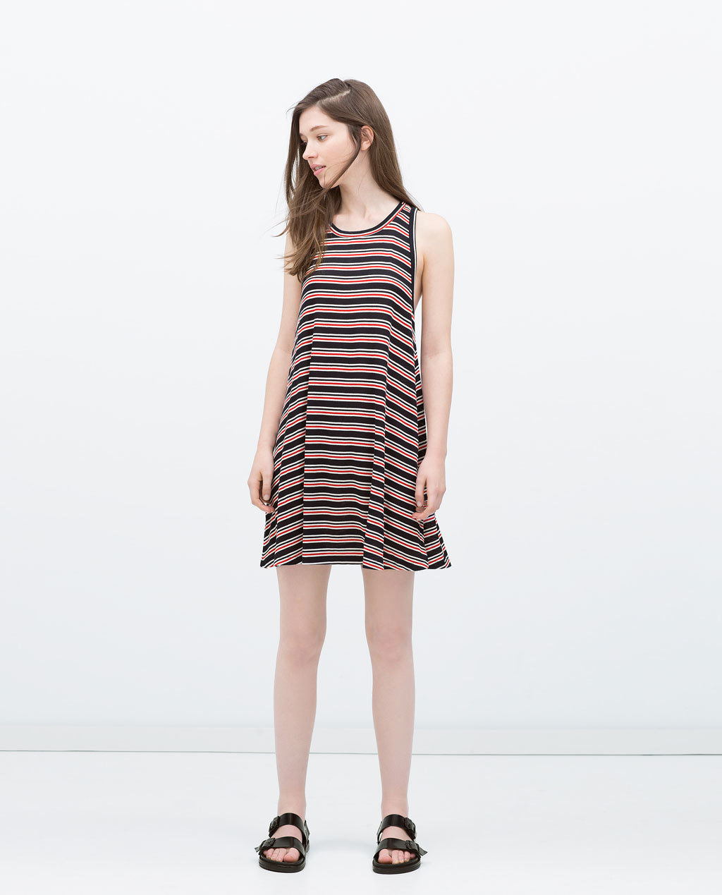 Shift Dress - style: trapeze; fit: loose; pattern: horizontal stripes; sleeve style: sleeveless; predominant colour: true red; secondary colour: black; occasions: casual; length: just above the knee; neckline: scoop; sleeve length: sleeveless; pattern type: fabric; pattern size: standard; texture group: jersey - stretchy/drapey; fibres: viscose/rayon - mix; season: s/s 2015; multicoloured: multicoloured; wardrobe: highlight