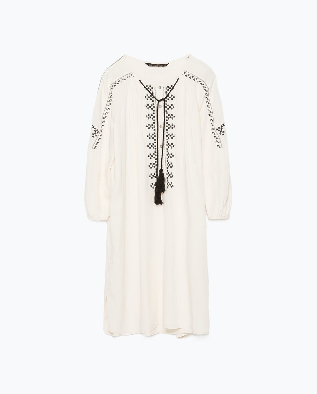 Embroidered Tunic - style: tunic; length: mid thigh; neckline: round neck; fit: loose; pattern: plain; predominant colour: ivory/cream; secondary colour: black; occasions: casual, holiday, creative work; fibres: viscose/rayon - 100%; sleeve length: 3/4 length; sleeve style: standard; texture group: cotton feel fabrics; pattern type: fabric; embellishment: embroidered; season: s/s 2015; wardrobe: highlight; embellishment location: bust, sleeve/cuff