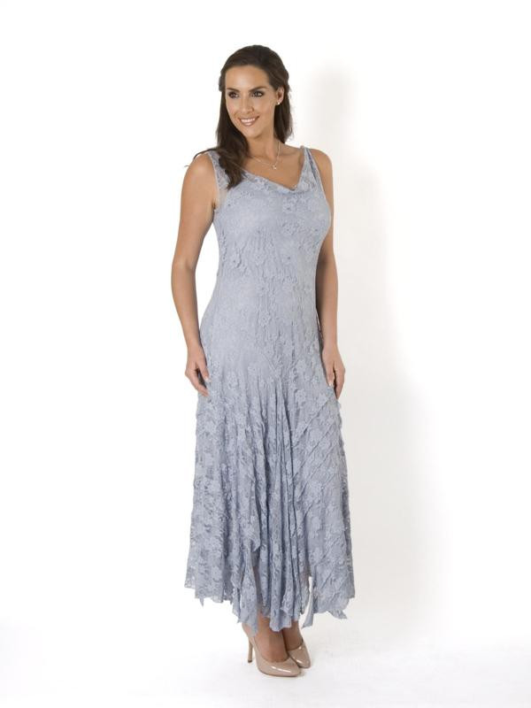 Silver Grey Stretch Lace Cinderella Bead Trim Dress - neckline: cowl/draped neck; pattern: plain; sleeve style: sleeveless; style: maxi dress; length: ankle length; predominant colour: pale blue; fit: body skimming; fibres: cotton - stretch; occasions: occasion; hip detail: subtle/flattering hip detail; sleeve length: sleeveless; texture group: sheer fabrics/chiffon/organza etc.; pattern type: fabric; season: s/s 2015; wardrobe: event