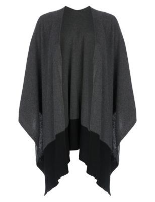 Pure Cashmere Wrap - sleeve style: dolman/batwing; pattern: plain; neckline: collarless open; style: open front; predominant colour: charcoal; secondary colour: black; occasions: casual, creative work; fit: loose; length: mid thigh; fibres: cashmere - 100%; sleeve length: 3/4 length; texture group: knits/crochet; pattern type: fabric; pattern size: standard; season: s/s 2015; wardrobe: investment