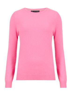 Pure Cashmere Round Neck Jumper - pattern: plain; style: standard; predominant colour: hot pink; occasions: casual, creative work; length: standard; fit: slim fit; neckline: crew; fibres: cashmere - 100%; sleeve length: long sleeve; sleeve style: standard; texture group: knits/crochet; pattern type: knitted - fine stitch; season: s/s 2015; wardrobe: highlight