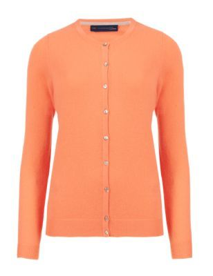 Pure Cashmere Button Through Cardigan - neckline: round neck; pattern: plain; predominant colour: bright orange; occasions: casual, creative work; length: standard; style: standard; fit: standard fit; fibres: cashmere - 100%; sleeve length: long sleeve; sleeve style: standard; texture group: knits/crochet; pattern type: knitted - fine stitch; pattern size: standard; season: s/s 2015; wardrobe: highlight