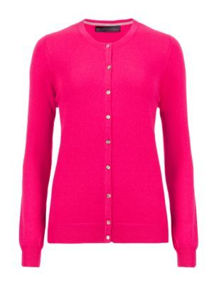 Pure Cashmere Button Through Cardigan - neckline: round neck; pattern: plain; predominant colour: hot pink; occasions: casual, creative work; length: standard; style: standard; fit: slim fit; fibres: cashmere - 100%; sleeve length: long sleeve; sleeve style: standard; texture group: knits/crochet; pattern type: knitted - fine stitch; season: s/s 2015; wardrobe: highlight