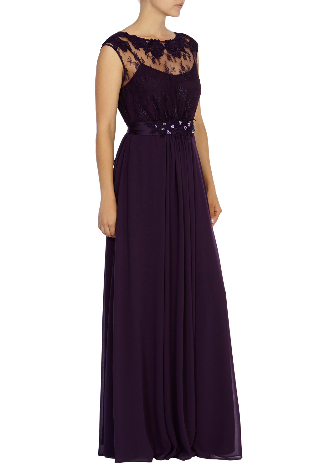 Lori May Maxi Dress - neckline: slash/boat neckline; pattern: plain; sleeve style: sleeveless; style: maxi dress; predominant colour: aubergine; occasions: evening, occasion; length: floor length; fit: fitted at waist & bust; sleeve length: sleeveless; texture group: sheer fabrics/chiffon/organza etc.; pattern type: fabric; embellishment: lace; season: s/s 2015