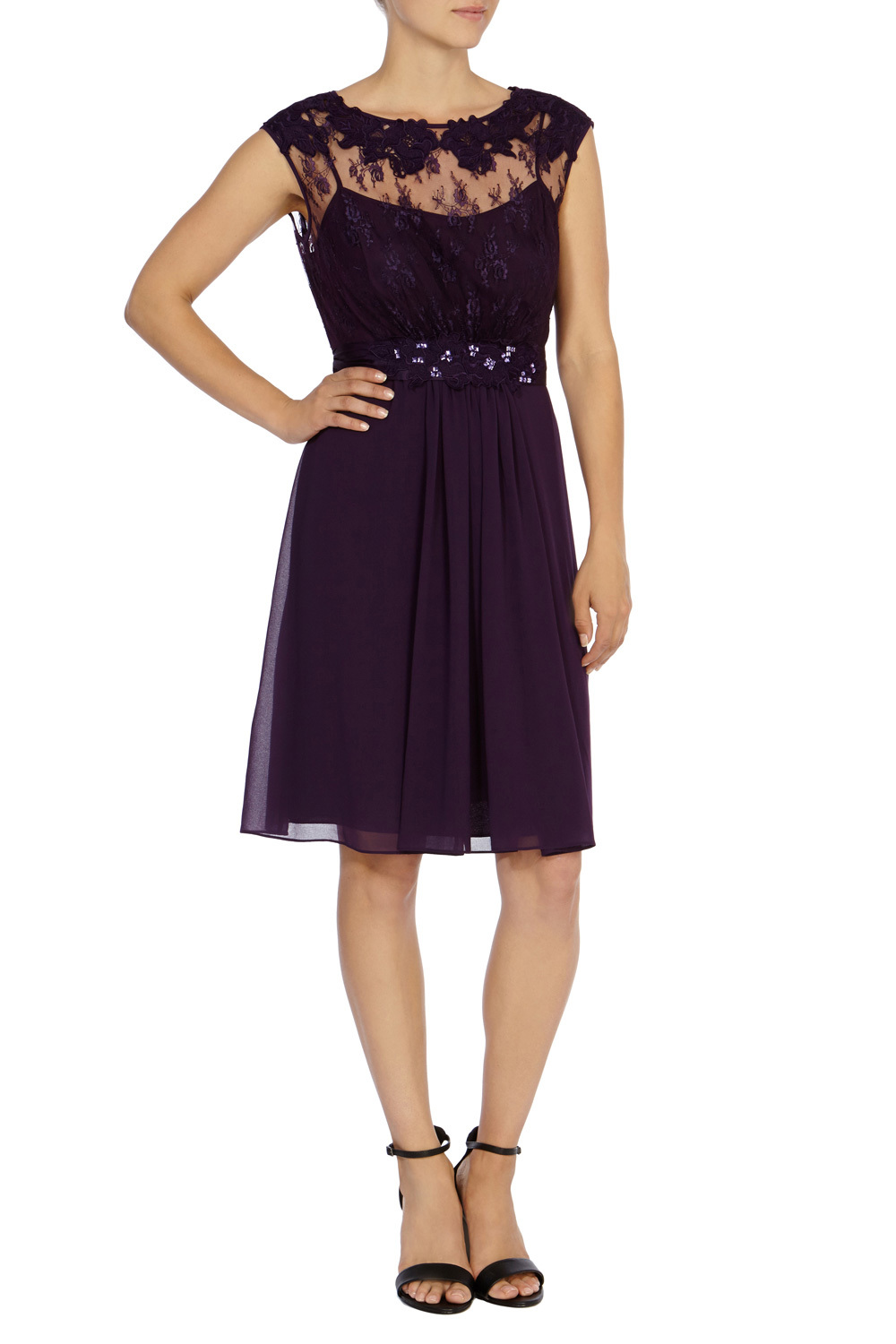 Lori May Short Dress - neckline: round neck; sleeve style: capped; pattern: plain; predominant colour: purple; occasions: evening, occasion; length: on the knee; fit: fitted at waist & bust; style: fit & flare; hip detail: subtle/flattering hip detail; sleeve length: sleeveless; texture group: sheer fabrics/chiffon/organza etc.; pattern type: fabric; shoulder detail: sheer at shoulder; season: s/s 2015; wardrobe: event