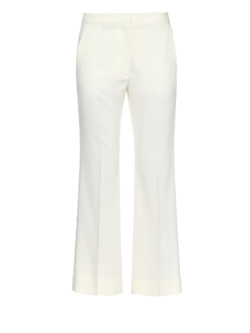Eden Cropped Flare Wool Trousers - length: standard; pattern: plain; waist: mid/regular rise; predominant colour: white; occasions: evening, occasion, creative work; waist detail: feature waist detail; fit: flares; texture group: woven light midweight; style: standard; season: s/s 2015; wardrobe: basic
