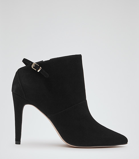 Arabesque Suede Point Toe Boots - predominant colour: black; material: suede; heel height: high; heel: stiletto; toe: pointed toe; boot length: ankle boot; style: standard; finish: plain; pattern: plain; occasions: creative work; season: s/s 2015; wardrobe: highlight