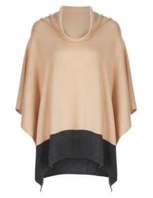 Pure Cashmere Cowl Neck Poncho - neckline: cowl/draped neck; length: below the bottom; style: poncho; predominant colour: nude; occasions: casual, creative work; fit: loose; hip detail: subtle/flattering hip detail; fibres: cashmere - 100%; sleeve length: long sleeve; texture group: knits/crochet; pattern type: knitted - fine stitch; pattern: colourblock; sleeve style: cape/poncho sleeve; season: s/s 2015; trends: folky 70s, plaid and simple; wardrobe: highlight