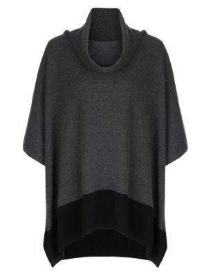 Pure Cashmere Cowl Neck Poncho - neckline: cowl/draped neck; length: below the bottom; style: poncho; predominant colour: charcoal; secondary colour: black; occasions: casual, creative work; fit: loose; hip detail: subtle/flattering hip detail; fibres: cashmere - 100%; sleeve length: long sleeve; texture group: knits/crochet; pattern type: knitted - fine stitch; pattern: colourblock; sleeve style: cape/poncho sleeve; season: s/s 2015; wardrobe: highlight