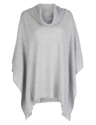 Pure Cashmere Cowl Neck Poncho - neckline: cowl/draped neck; pattern: plain; style: poncho; predominant colour: light grey; occasions: casual, creative work; fit: loose; length: mid thigh; hip detail: subtle/flattering hip detail; fibres: cashmere - 100%; sleeve length: long sleeve; texture group: knits/crochet; pattern type: knitted - fine stitch; sleeve style: cape/poncho sleeve; season: s/s 2015; trends: plaid and simple; wardrobe: highlight