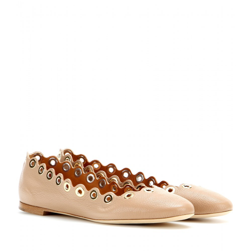 Flo Embellished Leather Ballerinas - predominant colour: camel; occasions: casual, creative work; material: leather; heel height: flat; toe: round toe; style: ballerinas / pumps; finish: plain; pattern: plain; embellishment: chain/metal; season: s/s 2015; wardrobe: basic