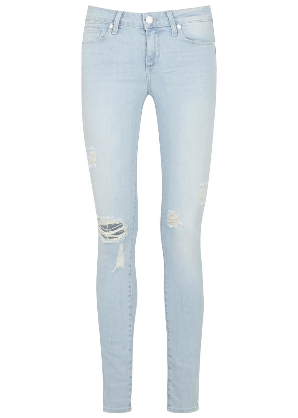 Verdugo Pale Blue Distressed Skinny Jeans - style: skinny leg; length: standard; pattern: plain; waist: low rise; pocket detail: traditional 5 pocket; predominant colour: pale blue; occasions: casual; fibres: cotton - stretch; texture group: denim; pattern type: fabric; jeans detail: rips; season: s/s 2015; wardrobe: basic