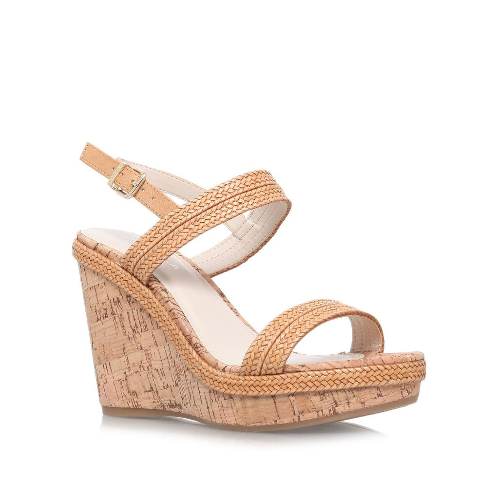 Kay High Wedged Sandals, Tan - predominant colour: camel; occasions: casual, evening; material: faux leather; ankle detail: ankle strap; heel: wedge; toe: open toe/peeptoe; style: standard; finish: plain; pattern: plain; heel height: very high; shoe detail: platform; season: s/s 2015; wardrobe: investment