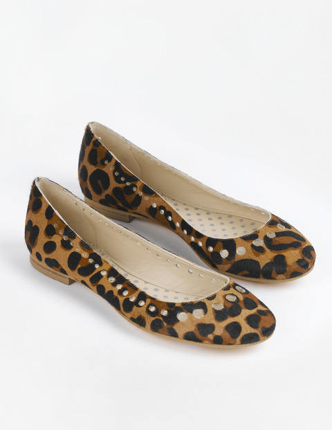 Ballerina Pumps, Tan Leopard Pony - predominant colour: camel; secondary colour: black; occasions: casual, creative work; heel height: flat; toe: round toe; style: ballerinas / pumps; finish: plain; pattern: animal print; material: pony skin; season: s/s 2015