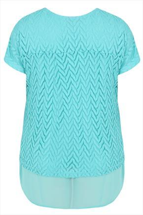 Turquoise 2 In 1 Chiffon & Crochet Short Sleeve Top - pattern: plain; length: below the bottom; style: tunic; predominant colour: turquoise; occasions: casual, creative work; fibres: polyester/polyamide - mix; fit: body skimming; neckline: crew; sleeve length: short sleeve; sleeve style: standard; pattern type: knitted - other; texture group: jersey - stretchy/drapey; season: s/s 2015; wardrobe: highlight