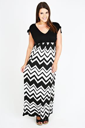 Black & White Chevron Print Ruched Shoulder Maxi Dress - neckline: low v-neck; sleeve style: capped; style: maxi dress; length: ankle length; secondary colour: white; predominant colour: black; occasions: casual, evening, occasion; fit: body skimming; hip detail: contrast fabric/print detail at hip; sleeve length: sleeveless; pattern type: fabric; pattern size: standard; pattern: patterned/print; texture group: jersey - stretchy/drapey; season: s/s 2015; wardrobe: highlight