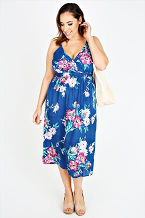 Blue Cross Over Floral Print Midi Dress With Sequin Detail - length: calf length; neckline: low v-neck; fit: empire; sleeve style: sleeveless; style: sundress; secondary colour: pink; predominant colour: royal blue; occasions: casual; fibres: viscose/rayon - 100%; sleeve length: sleeveless; texture group: cotton feel fabrics; pattern type: fabric; pattern: florals; trends: exotic blooms; season: s/s 2015; multicoloured: multicoloured; wardrobe: highlight