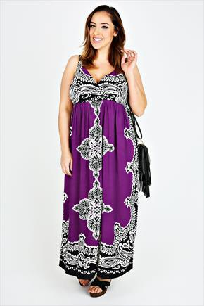 Purple Paisley Pattern V Neck Maxi Dress - neckline: v-neck; fit: empire; sleeve style: sleeveless; style: maxi dress; length: ankle length; pattern: paisley; predominant colour: purple; secondary colour: black; occasions: evening, occasion, holiday; sleeve length: sleeveless; texture group: jersey - stretchy/drapey; season: s/s 2015; wardrobe: highlight