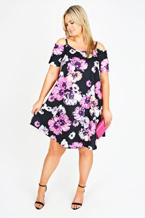 Pink & Multi Coloured Floral Cold Shoulder Swing Dress - style: smock; neckline: round neck; fit: loose; predominant colour: hot pink; secondary colour: black; occasions: evening, occasion; length: just above the knee; fibres: polyester/polyamide - stretch; shoulder detail: cut out shoulder; sleeve length: short sleeve; sleeve style: standard; pattern type: fabric; pattern size: big & busy; pattern: florals; texture group: other - light to midweight; season: s/s 2015; wardrobe: event