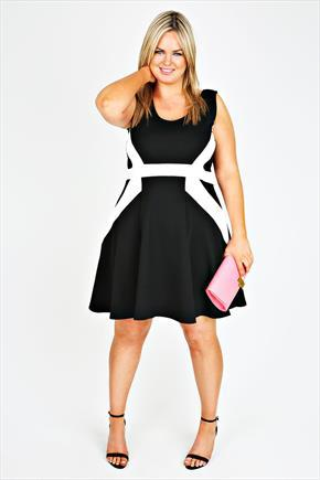 Ivory And Black Asymetric Stripe Skater Dress - style: shift; neckline: round neck; sleeve style: sleeveless; secondary colour: white; predominant colour: black; occasions: evening, occasion; length: just above the knee; fit: fitted at waist & bust; fibres: polyester/polyamide - stretch; sleeve length: sleeveless; pattern type: fabric; pattern size: standard; pattern: colourblock; texture group: other - light to midweight; season: s/s 2015; wardrobe: event
