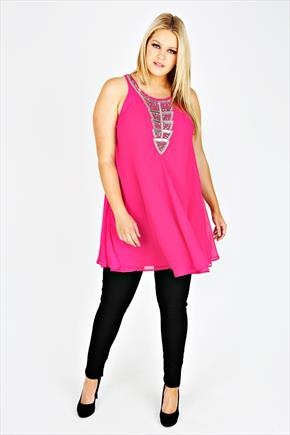 Fuchsia Chiffon Sleeveless Tunic With Silver Embellishment - pattern: plain; sleeve style: sleeveless; bust detail: added detail/embellishment at bust; style: tunic; predominant colour: hot pink; secondary colour: silver; occasions: evening; neckline: scoop; fibres: polyester/polyamide - 100%; fit: loose; length: mid thigh; sleeve length: sleeveless; texture group: sheer fabrics/chiffon/organza etc.; pattern type: fabric; embellishment: sequins; season: s/s 2015; wardrobe: event