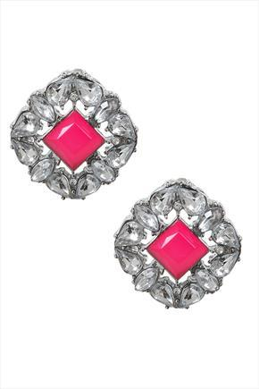 Square Crystal Stud Earrings With Centre Hot Pink Stone - secondary colour: hot pink; predominant colour: silver; occasions: evening; style: stud; length: short; size: standard; material: chain/metal; fastening: clip on; finish: metallic; embellishment: jewels/stone; season: s/s 2015; wardrobe: event
