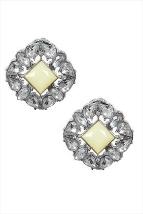Square Crystal Stud Earrings With Centre Yellow Stone - secondary colour: primrose yellow; predominant colour: silver; occasions: evening; style: stud; length: short; size: standard; material: chain/metal; fastening: pierced; finish: metallic; embellishment: jewels/stone; season: s/s 2015