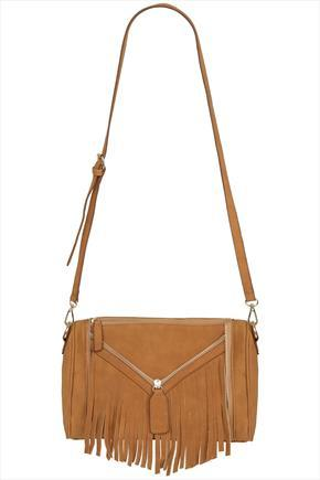 Tan Suede Look Fringe And Zip Bag - predominant colour: tan; occasions: casual; style: messenger; length: across body/long; size: standard; material: suede; embellishment: fringing; pattern: plain; finish: plain; season: s/s 2015; wardrobe: highlight