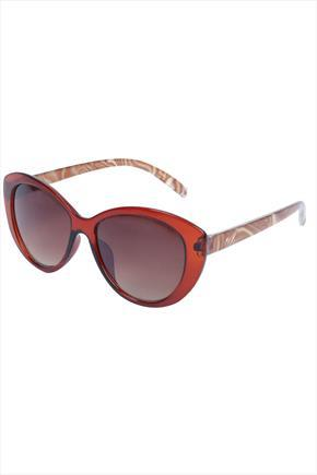 Brown Frame Sunglasses With Pearl Arms - predominant colour: tan; secondary colour: camel; occasions: casual, holiday; style: round; size: standard; material: plastic/rubber; finish: plain; pattern: patterned/print; season: s/s 2015; wardrobe: highlight