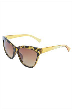 Brown Tortoise Frame Sunglasses With Yellow Arms - predominant colour: yellow; secondary colour: black; occasions: casual, holiday; style: cateye; size: large; material: plastic/rubber; pattern: tortoiseshell; finish: plain; season: s/s 2015; wardrobe: highlight