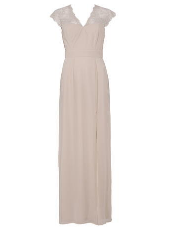 Womens **Elise Ryan Nude Maxi Dress Nude - neckline: v-neck; sleeve style: capped; pattern: plain; style: maxi dress; predominant colour: nude; occasions: evening; length: floor length; fit: body skimming; fibres: polyester/polyamide - 100%; sleeve length: short sleeve; texture group: sheer fabrics/chiffon/organza etc.; pattern type: fabric; embellishment: lace; shoulder detail: sheer at shoulder; season: s/s 2015; wardrobe: event